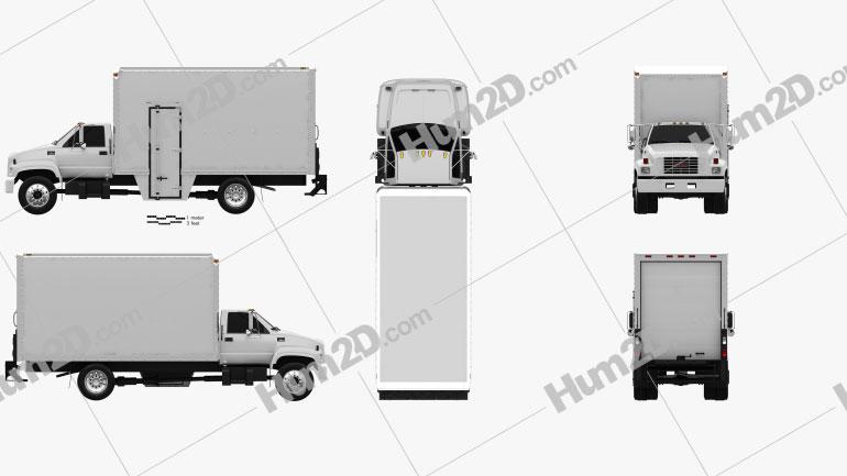 GMC Topkick C6500 Box Truck 1990 clipart