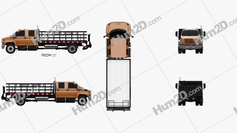 GMC Topkick C7500 Crew Cab Flatbed Truck 2005 clipart