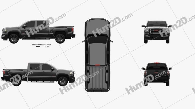 GMC Sierra 1500 Crew Cab Short Box All Terrain 2017 Clipart Image