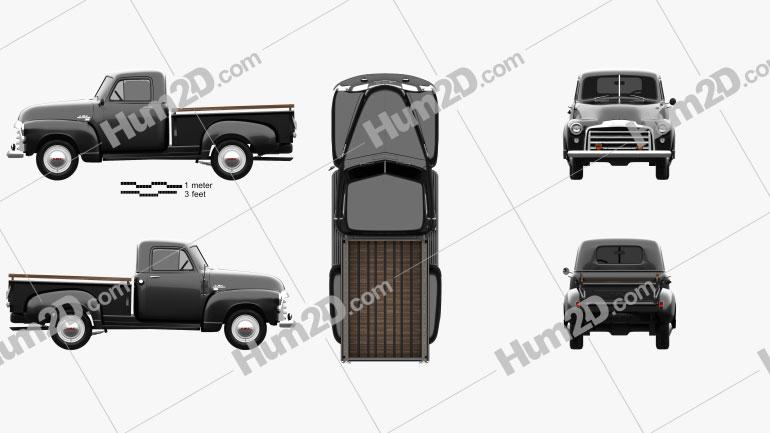 GMC 9300 Pickup Truck 1952 clipart