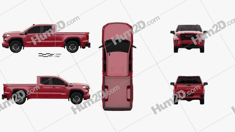 GMC Sierra 1500 Double Cab Standard Box Elevation 2019 car clipart