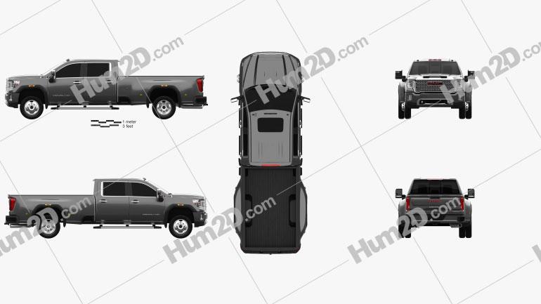 GMC Sierra HD Crew Cab Long Box Denali DRW 2019 car clipart
