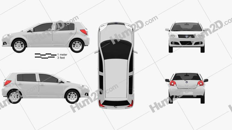 Geely MK hatchback 2009 Clipart Image