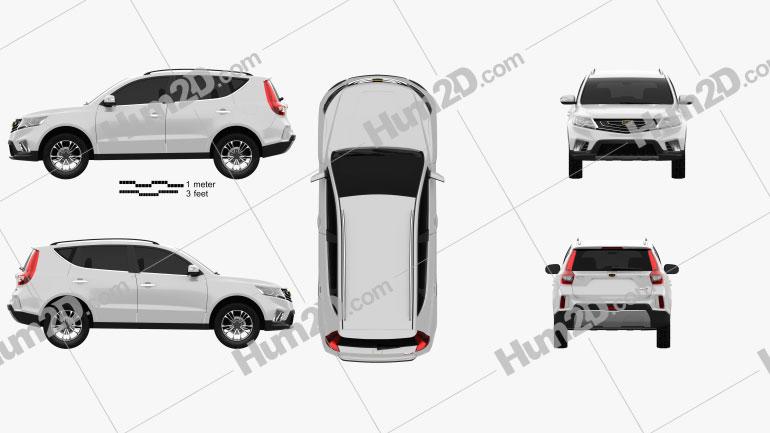 Geely Vision X6 2016 car clipart