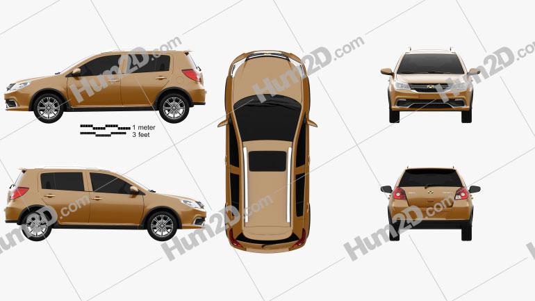Geely Jingang Cross 2016 car clipart