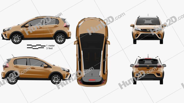 Geely Vision X1 2017 car clipart