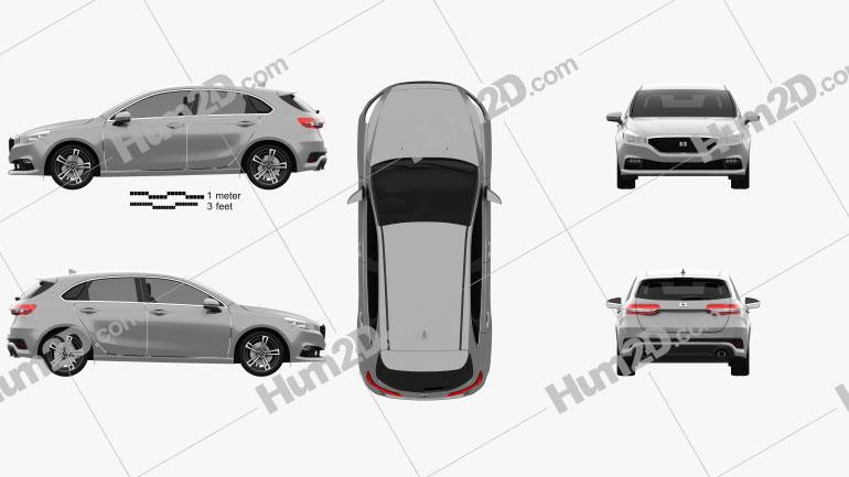 Generic hatchback 5-door 2019 car clipart