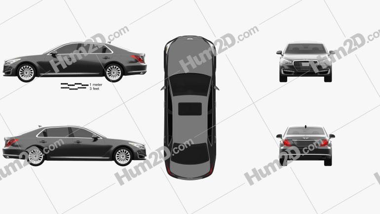 Genesis G90 2017 car clipart