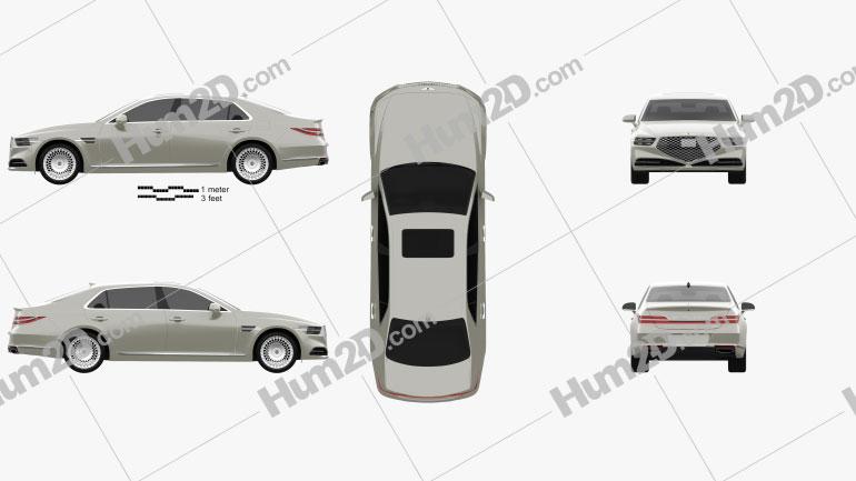 Genesis G90 2020 car clipart