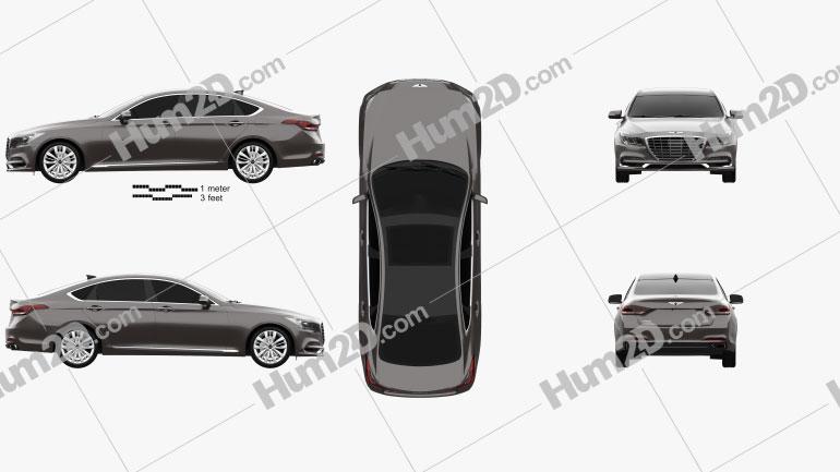 Genesis G80 2019 car clipart
