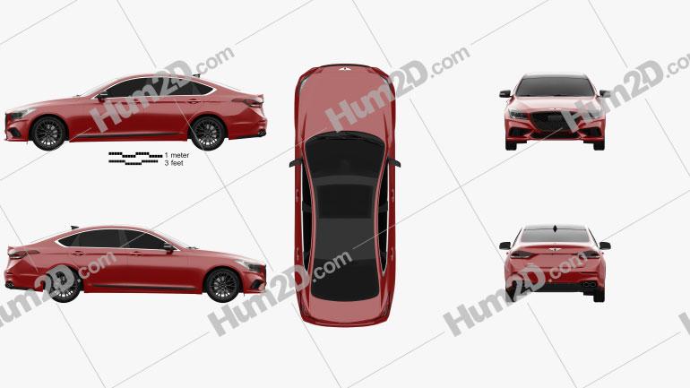 Genesis G80 Sport 2019 car clipart