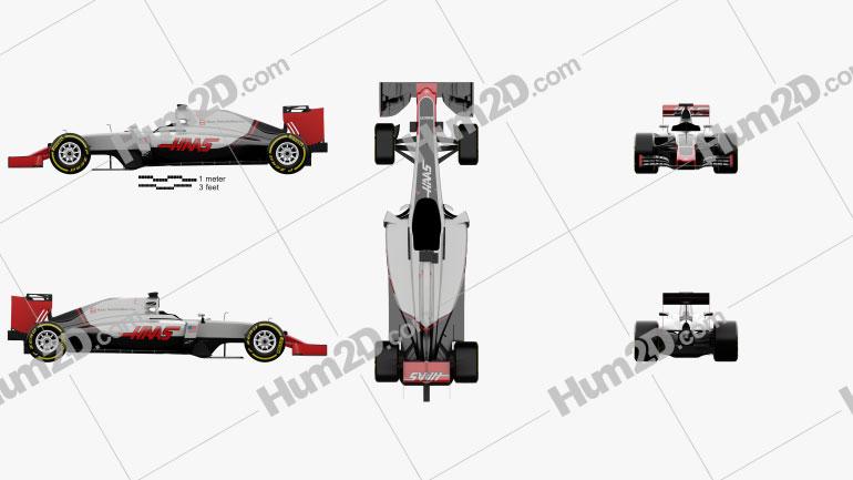 Haas VF-16 F1 2016 Formula-1 car clipart
