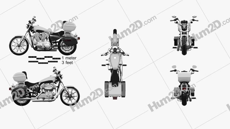 Harley-Davidson XL883L Police 2013 Clipart Image