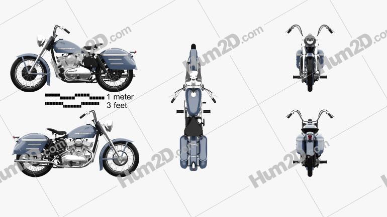 Harley-Davidson Model K 1953 Motorcycle clipart