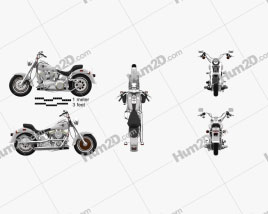 Harley-Davidson FLSTF Fat Boy 1990 Motorcycle clipart