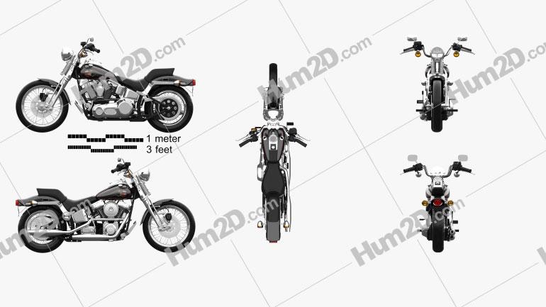 Harley-Davidson FXSTS Springer Softail 1988 Moto clipart