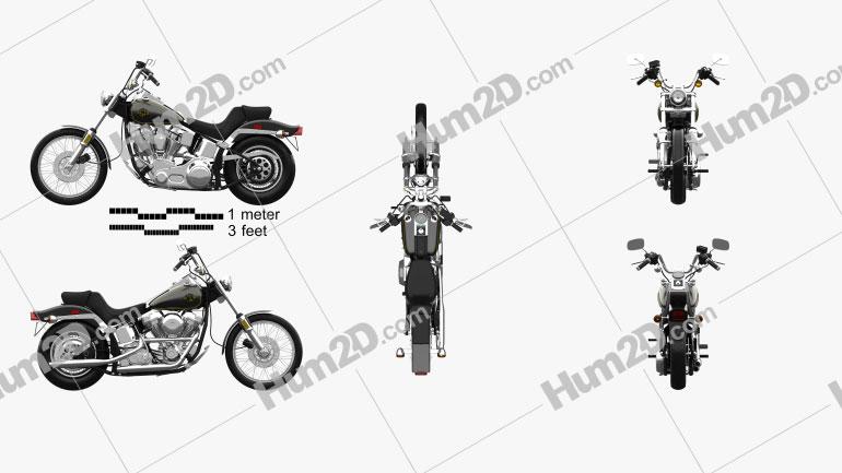 Harley-Davidson FXST Softail 1984 Clipart Image