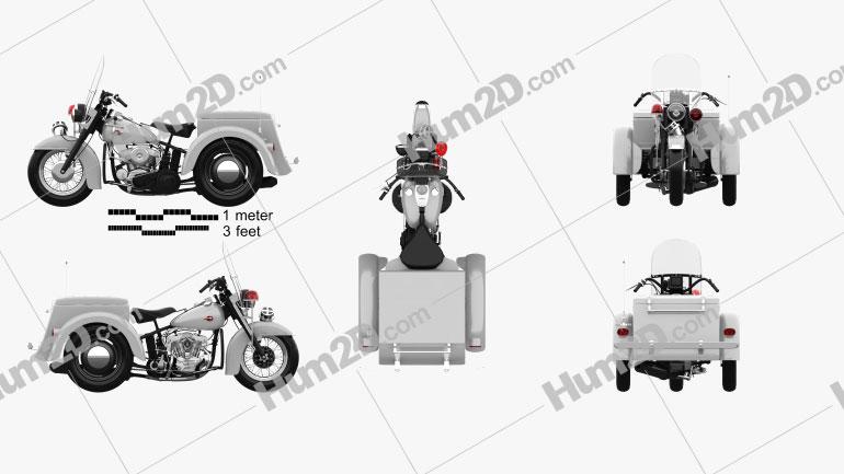 Harley-Davidson Servi-Car Police 1958 Motorcycle clipart