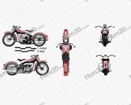 Harley-Davidson 45 WL 1940 Motorcycle clipart