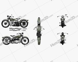 Harley-Davidson VL JD 1936 Motorcycle clipart