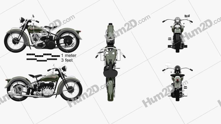 Harley-Davidson VL JD 1936 Clipart Image