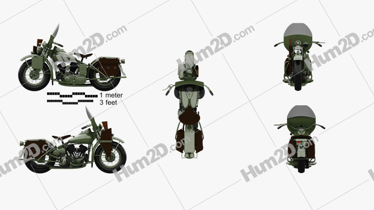 Harley-Davidson WLA 1941 Motorcycle clipart