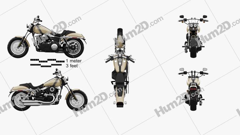 Harley-Davidson Dyna Fat Bob 2016 Clipart Image
