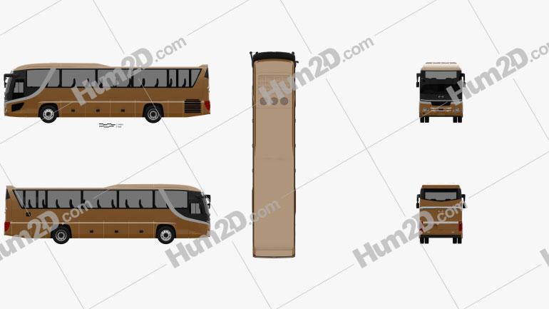 Hino S'elega Super High Decca Bus 2015 clipart