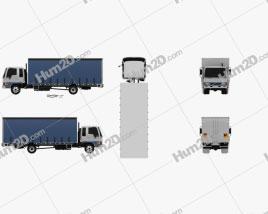 Hino FD 10 Pallet Curtainsider Truck 2000 clipart