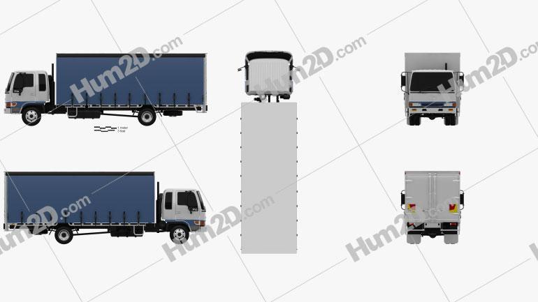 Hino FD 10 Pallet Curtainsider Truck 2000 Clipart Image