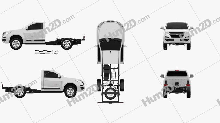 Holden Colorado LS Einzelkabine Chassis 2016 Clipart Bild
