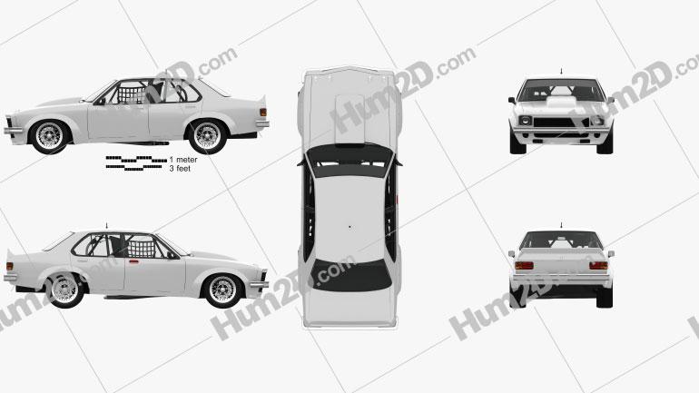 Holden Torana 4-türig Rennwagen mit HD Innenraum 1977 car clipart