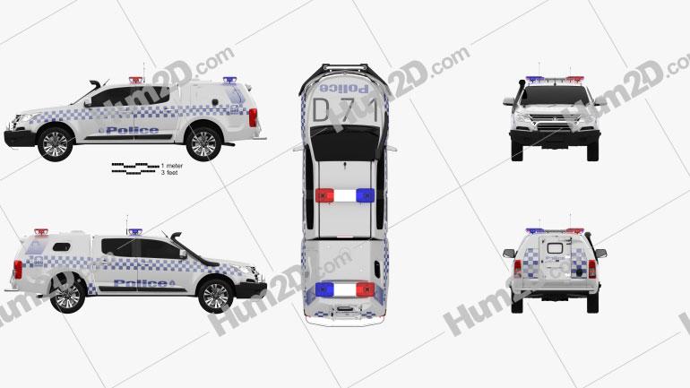 Holden Colorado Crew Cab Divisional Van 2016 car clipart