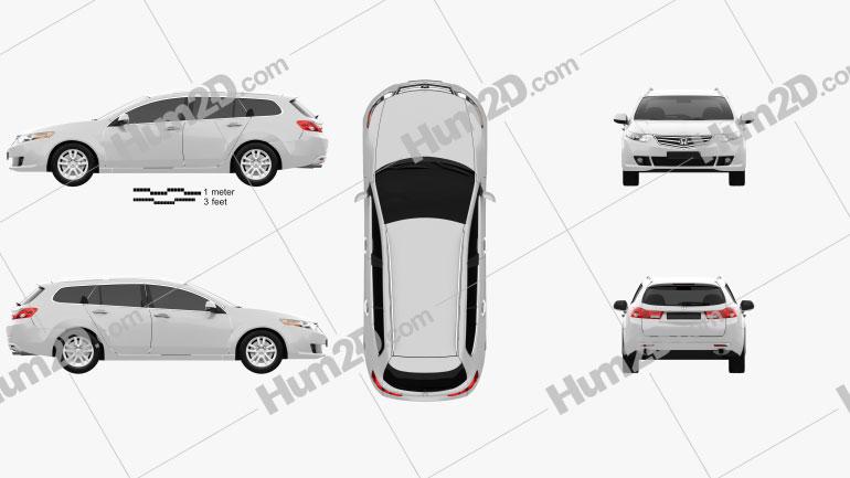 Honda Accord Tourer 2009 Clipart Image