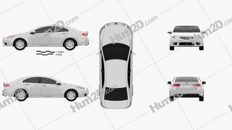 Honda Accord Sedan 2011 Clipart Image