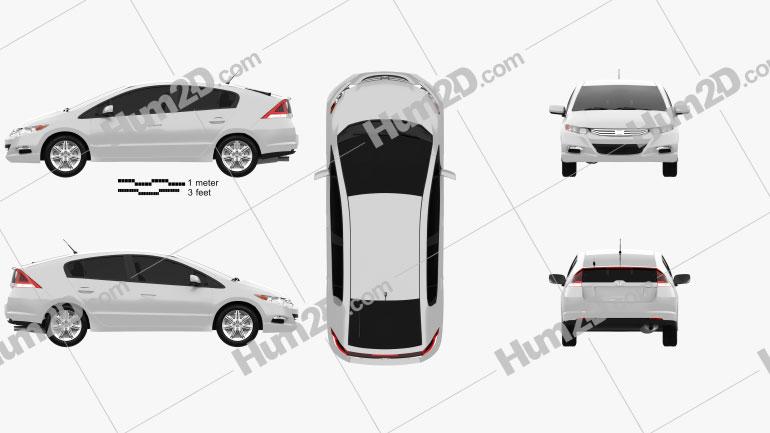 Honda Insight Hybrid 2010 Clipart Image