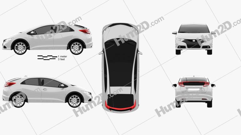 Honda Civic EU 2012 Clipart Image
