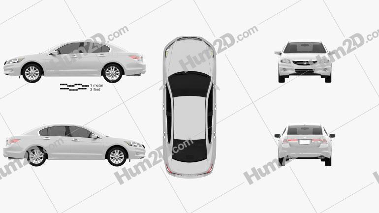 Honda Accord Sedan 2012 Clipart Image