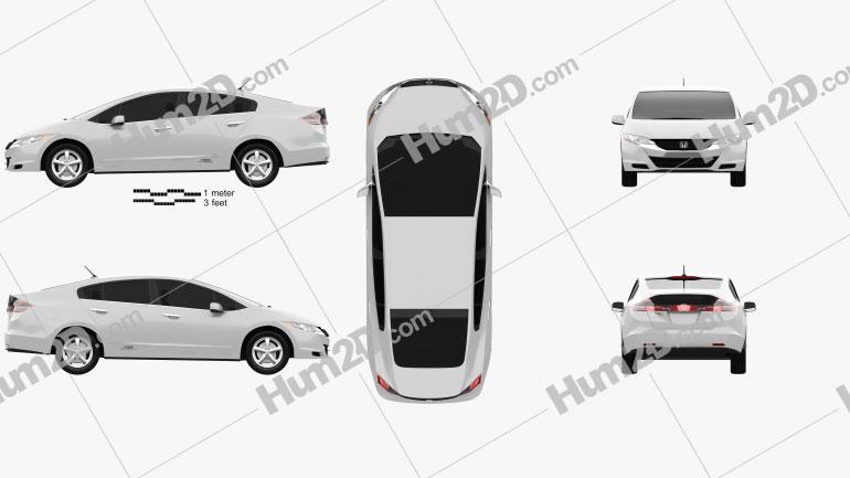 Honda FCX Clarity 2010 Clipart Image
