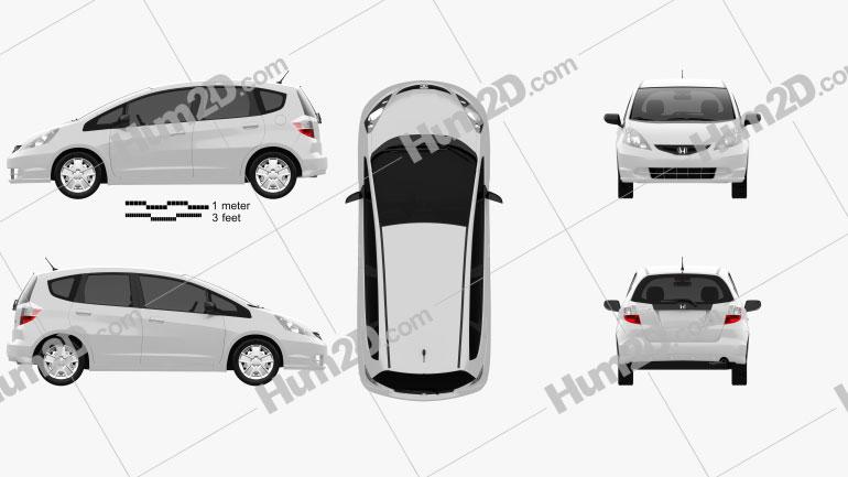 Honda Fit (Jazz) Base 2012 Clipart Image