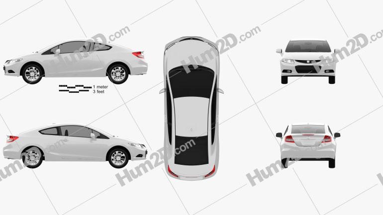Honda Civic coupe 2013 car clipart