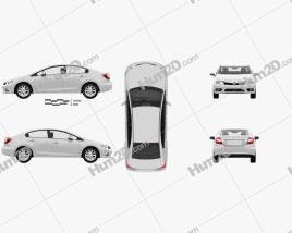 Honda Civic sedan with HQ interior 2012 car clipart