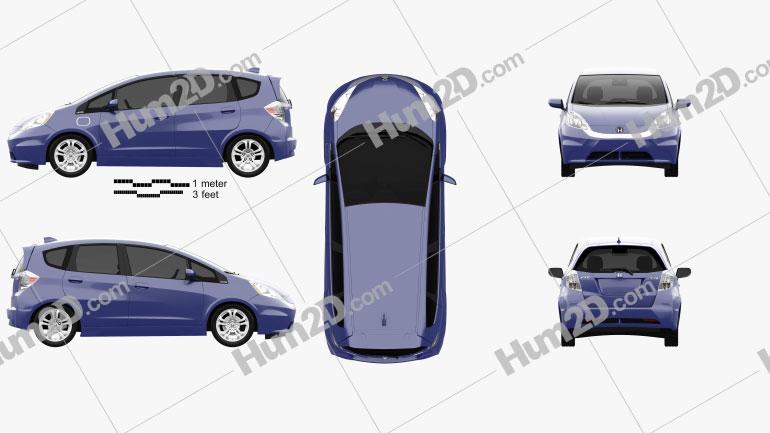 Honda Fit EV 2013 Clipart Image