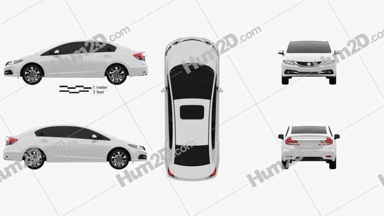 Honda Civic sedan 2013 car clipart