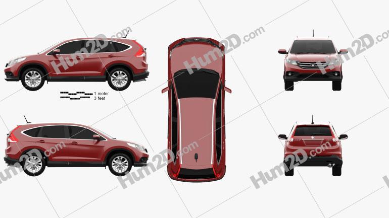 Honda CR-V EU 2012 Clipart Image