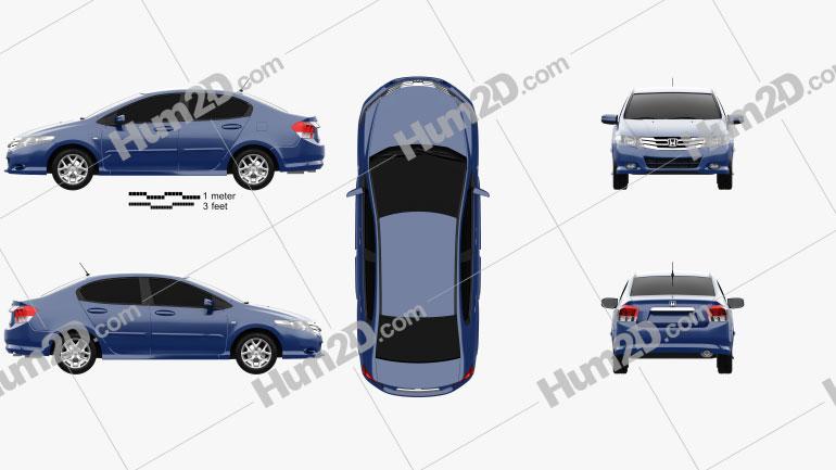 Honda City 2012 Clipart Image