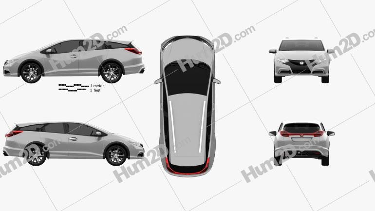 Honda Civic tourer 2013 Clipart Image