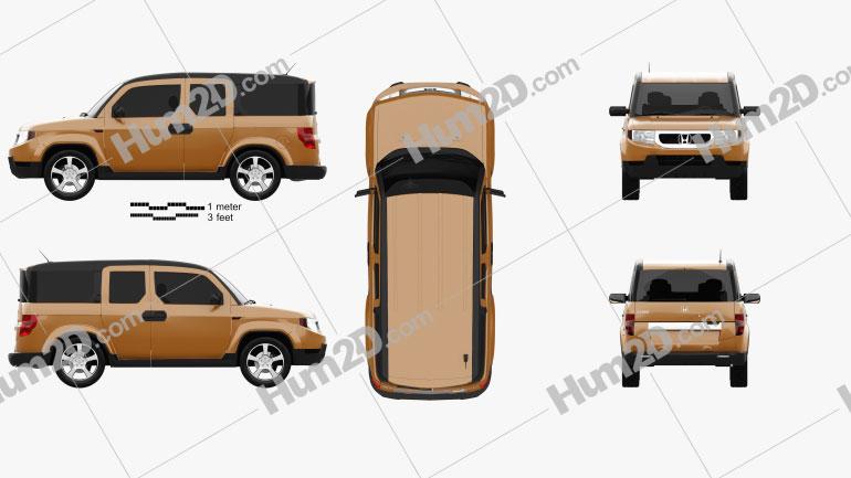 Honda Element EX 2008 Clipart Image