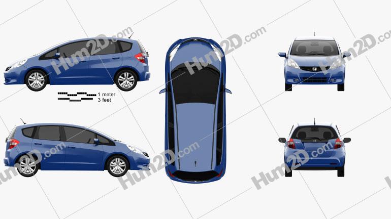 Honda Jazz 2010 Clipart Image
