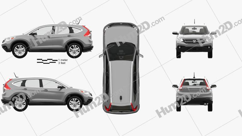 Honda CR-V US with HQ interior 2012 Clipart Image